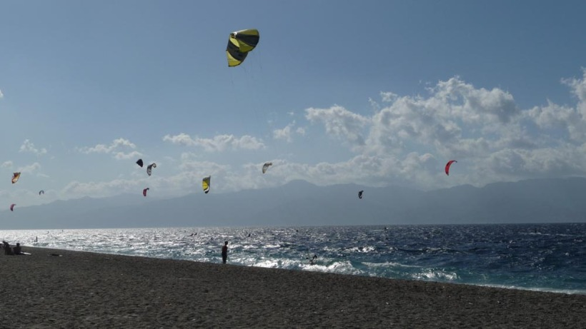 Kites over water